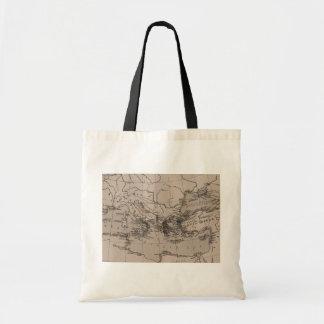 Old Map, Mediterranean Sea, Europe - Brown Black Canvas Bag