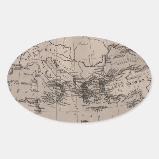 Old Map, Mediterranean Sea, Europe - Brown Black Oval Sticker
