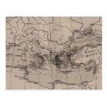 Old Map, Mediterranean Sea, Europe - Brown Black Postcard
