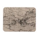 Old Map, Mediterranean Sea, Europe - Brown Black Rectangle Magnets