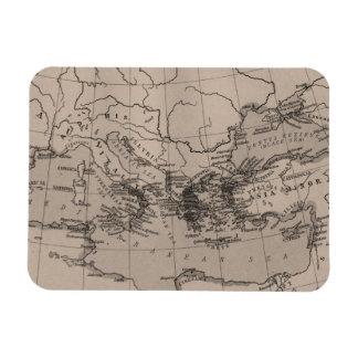 Old Map, Mediterranean Sea, Europe - Brown Black Rectangular Photo Magnet