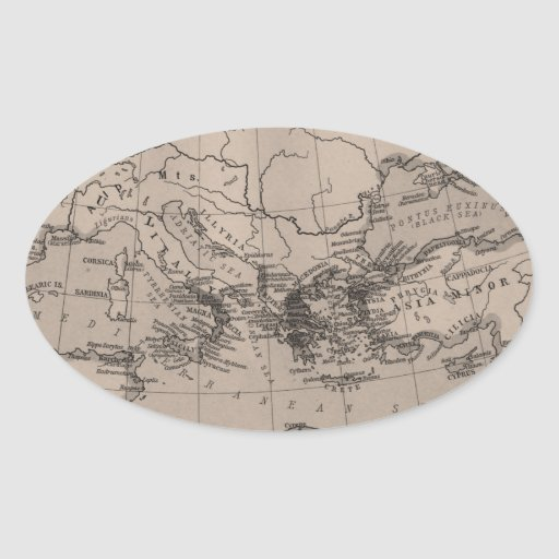 Old Map, Mediterranean Sea, Europe - Brown Black Oval Stickers