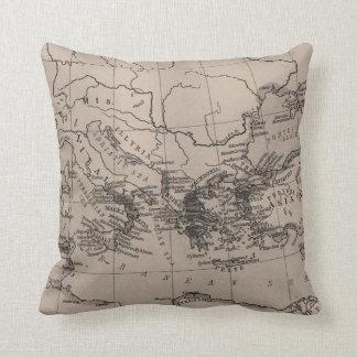 Old Map, Mediterranean Sea, Europe - Brown Black Throw Pillow