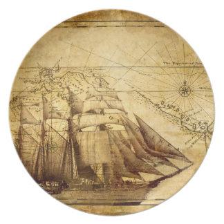 Old Map Navigation Dinner Plate