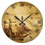 Old Map Navigation Reloj Redondo Grande