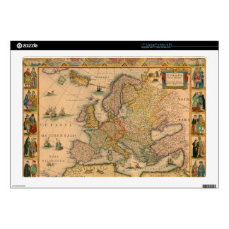 "Old Map of Europe Skin For 17"" Laptop"