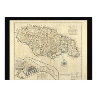 Old Map of Jamaica (1770) 5x7 Paper Invitation Card