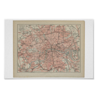 Old Map of London, 19th century Poster
