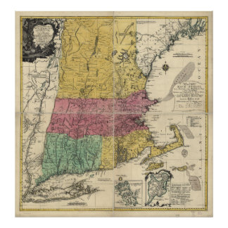 Old Map of New England (1777) Poster