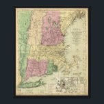 "Old Map of New England (circa 1780) Canvas Print<br><div class=""desc"">Title Bowles&#39;s new pocket map of the most inhabited part of New England; comprehending the provinces of Massachusets Bay and New Hampshire; with the colonies of Connecticut &amp; Rhode Island; divided into their counties, townships, &amp;c. together with an accurate plan of the town, harbour and environs of Boston. Contributor Names...</div>"