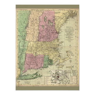 Old Map of New England (circa 1780) Card