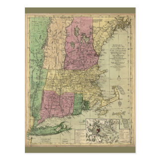 Old Map of New England (circa 1780) Postcard