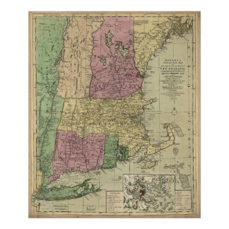 Old Map of New England (circa 1780) Poster