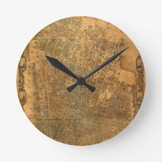 Old Map of New York City in 1852 Round Clock