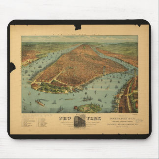 Old map of New York City, New York Mouse Pad