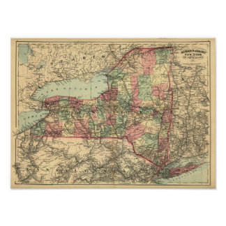 Old Map of New York State 1871 Poster