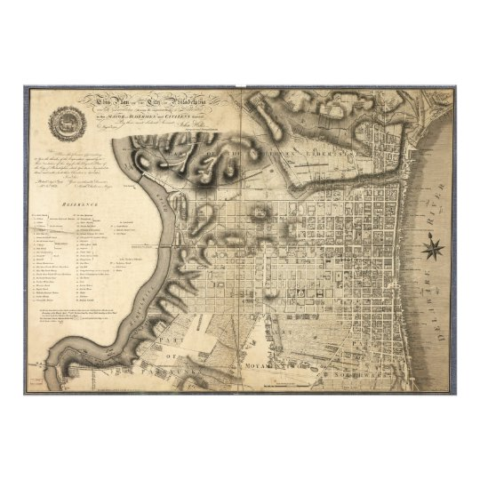 Old Map of Philadelphia Pennsylvania from 1796 Photo Print