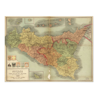 Old Map of Sicily from 1900 (Sicilia carta) Card