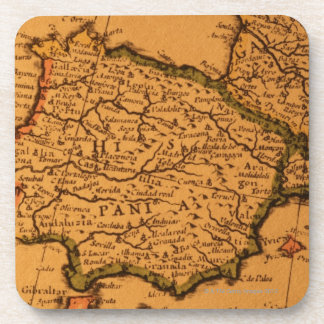 Old map of Spain Beverage Coaster