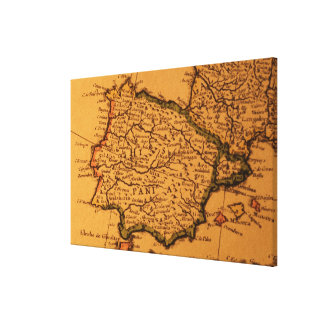 Old map of Spain Canvas Print