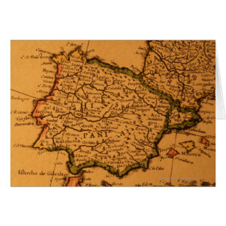 Old map of Spain Card