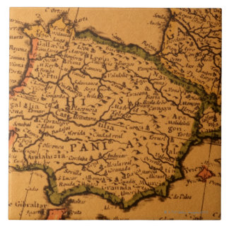 Old map of Spain Ceramic Tile