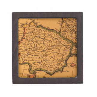 Old map of Spain Jewelry Box