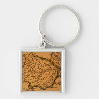 Old map of Spain Keychain