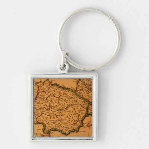 Old map of Spain Keychains