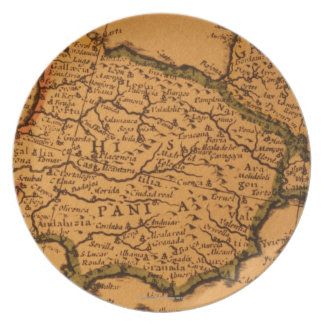 Old map of Spain Melamine Plate