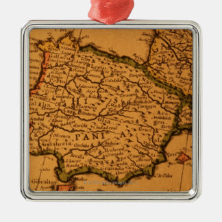 Old map of Spain Metal Ornament