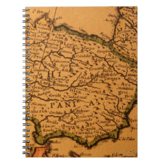 Old map of Spain Notebook