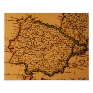 Old map of Spain Poster