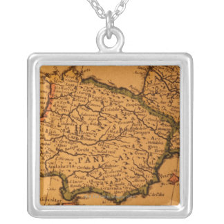 Old map of Spain Silver Plated Necklace