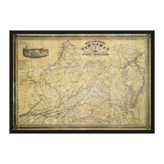 Old Map of the State of Virginia (1864) Canvas Print