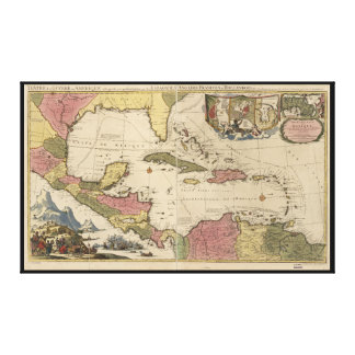 Old Map of the West Indies (1757) Canvas Print