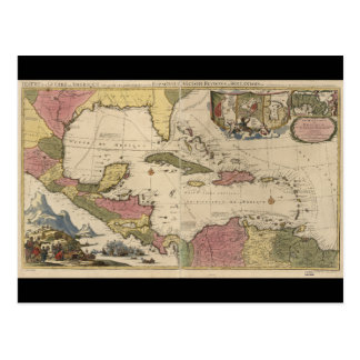 Old Map of the West Indies (1757) Postcard
