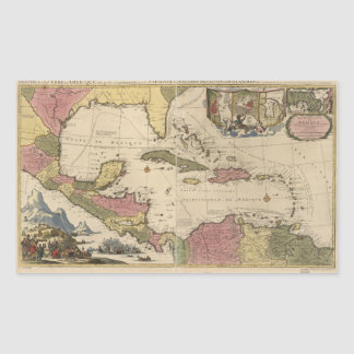 Old Map of the West Indies (1757) Rectangular Sticker