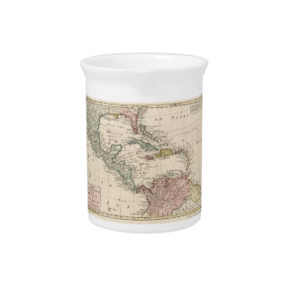 Old Map of the West Indies Caribbean (1765) Beverage Pitcher