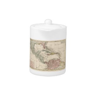 Old Map of the West Indies Caribbean (1765) Teapot