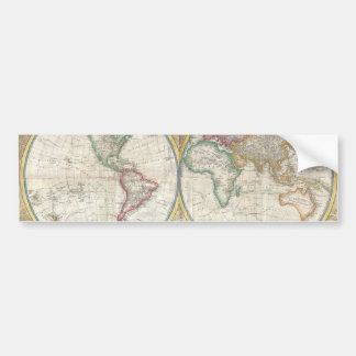 Old Map of the World Car Bumper Sticker
