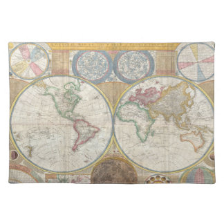 Old Map Of The World Cloth Placemat