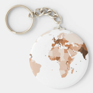 Old map of the world keychain