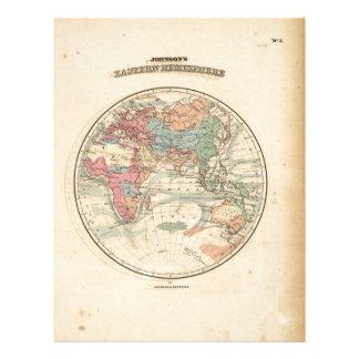 Old map of the world custom letterhead