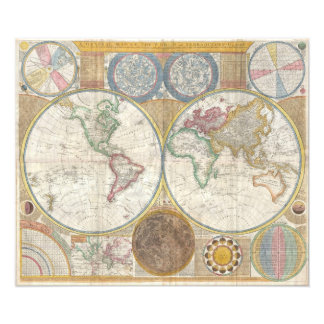 Old Map of the World Photo Print