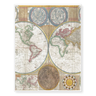 Old Map of the World Temporary Tattoos