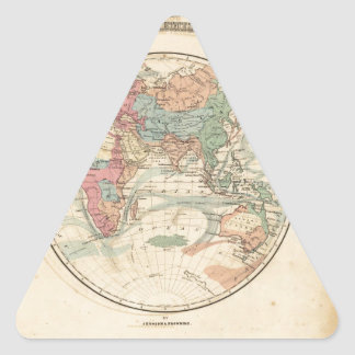 Old map of the world triangle sticker