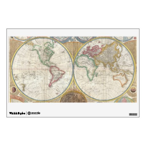 Old Map of the World Wall Skins