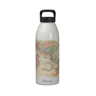 Old map of the world reusable water bottle