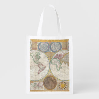 Old Map of the World Reusable Grocery Bag